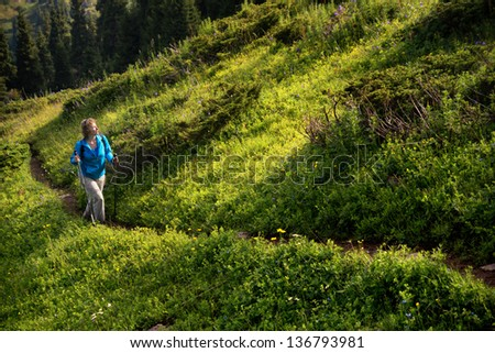 Woman on a trail in the mountains on a summer morning - stock photo