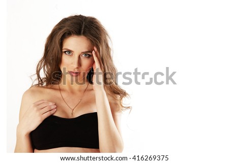 Woman on a white background