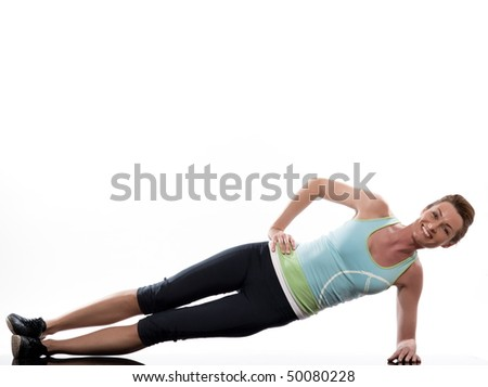 woman on Abdominals workout posture on white background - stock photo