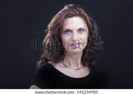 woman on black background - stock photo