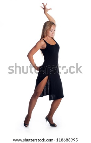 woman on black dress dancing - stock photo