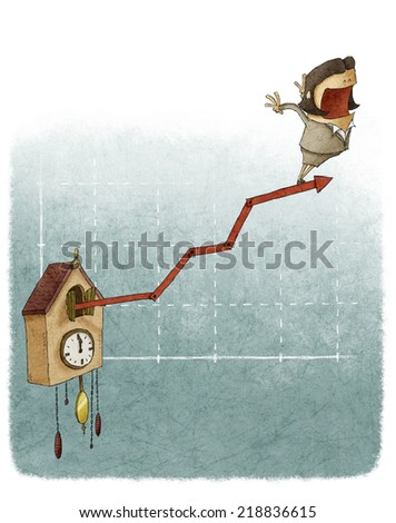 woman on cuckoo clock Financial growth chart - stock photo