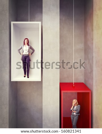 woman on 3d abstract elevator - stock photo