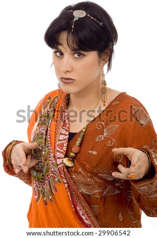 woman on ethnic scarf white isolate