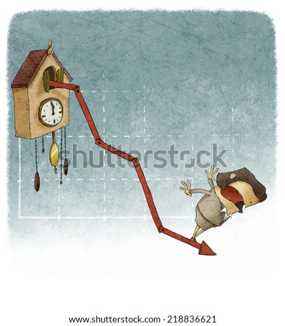 woman on financial graph cuckoo clock with negative results - stock photo