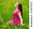 woman on flower field - stock photo