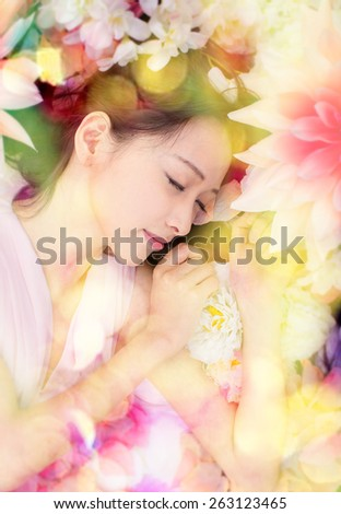woman on flowers sleeping sweet dream asian  - stock photo