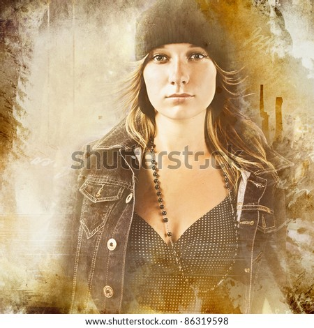 Woman  on grunge background - stock photo