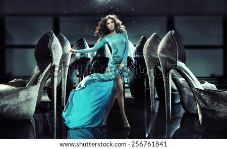 Woman on high heels fashion photo - stock photo