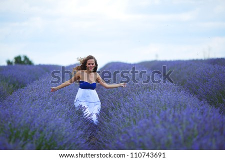 woman on lavender field - stock photo