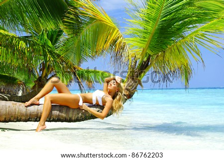 woman on palm - stock photo