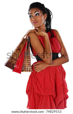 woman on shopping - stock photo