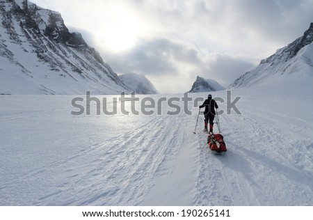 Woman on snowshoes and with pulka in the snow in Sweden. - stock photo