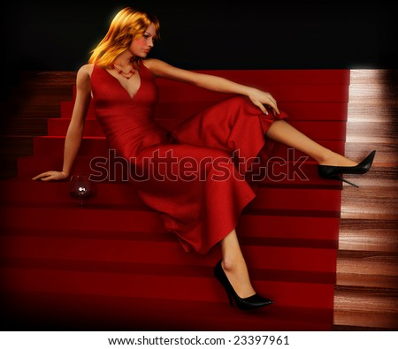 Woman on stairs with glass of red wine in evening dress - stock photo