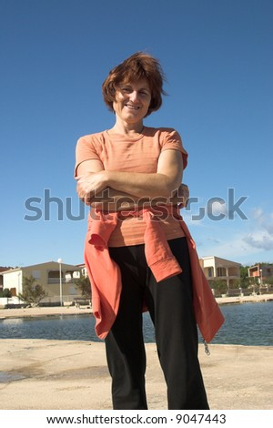 woman on sun - stock photo
