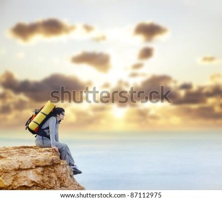 woman on sunset - stock photo