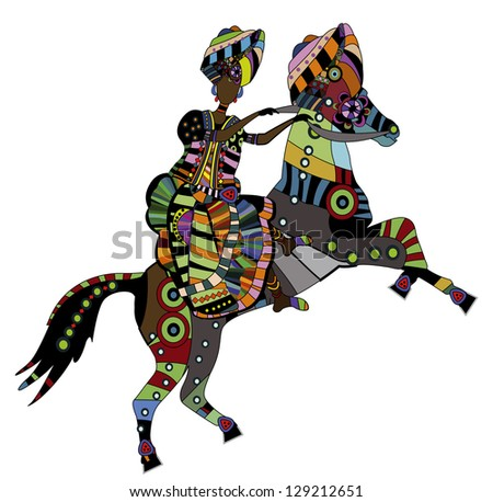 woman on the back of his horse in ethnic style - stock photo