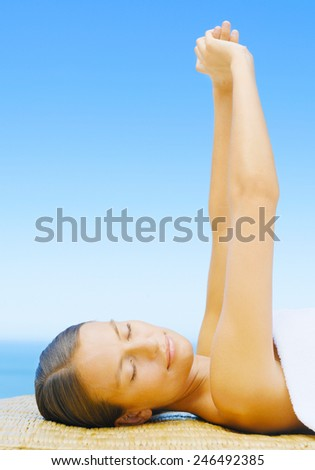 woman on the beach spa - stock photo