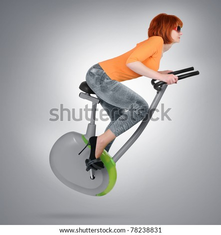 Woman on the eco-friendly transport future, concept - stock photo