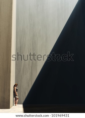 Woman on the edge of light and darkness