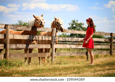 woman on the farm with her horse - stock photo