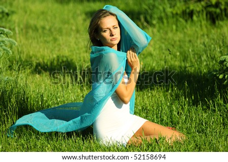 woman on the green grass