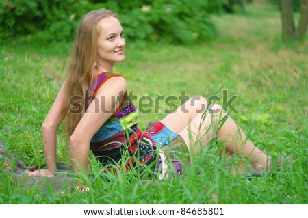 woman on the lawn - stock photo