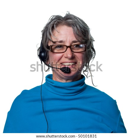 Woman on the phone, customer service representative - stock photo