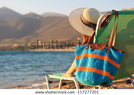 woman on vacation in Greece, holiday concept - stock photo