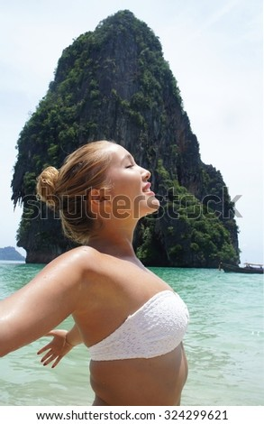 Woman on Vacation in Thailand - stock photo