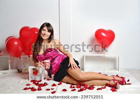woman on Valentine's Day in the studio. - stock photo