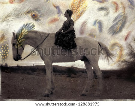 Woman on white horse with exotic feathers flying about.