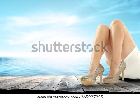 woman on wooden pier