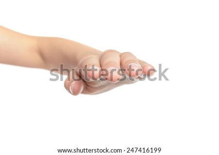 Woman open hand covers isolated on white background - stock photo