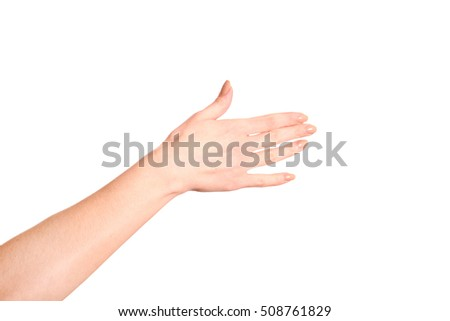 Woman open hand with french manicure isolated on a white background