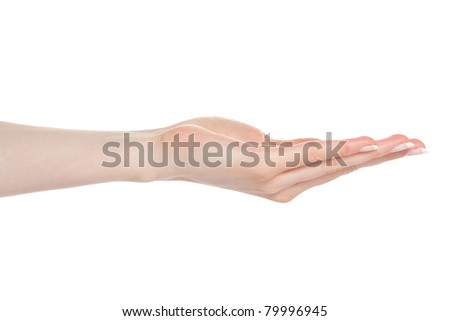 Woman open palm offering something