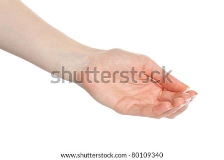 Woman open palm offering something - stock photo
