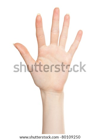 Woman open palm voting or agreement gesture