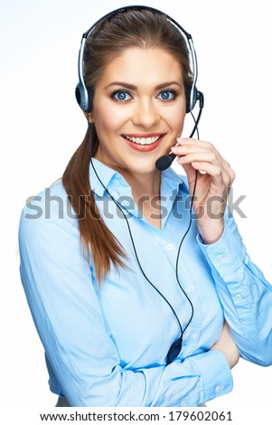 Woman operator portrait against isolated white backgroubd with crossed arms. - stock photo