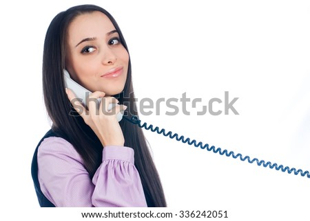 Woman or female contact person answering the phone smiling as support and assistance concept isolated on white background - stock photo