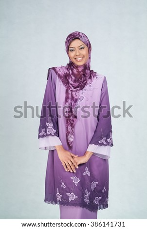 Woman or Modern muslim woman on background - stock photo