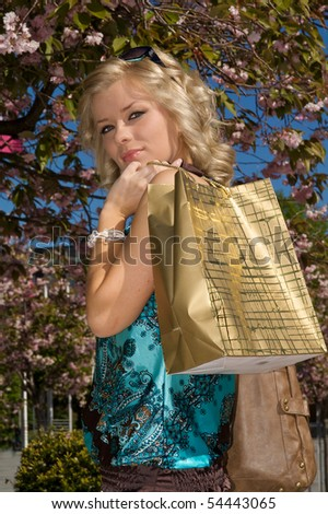 Woman out shopping - stock photo