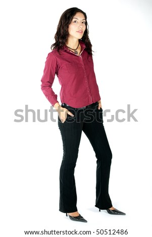Woman over white background