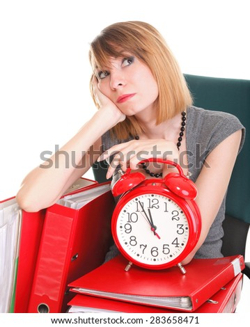 woman Overworked businesswoman holding plenty of documents isolated white red folders  - stock photo