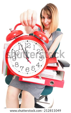 woman Overworked businesswoman holding plenty of documents red folder isolated on white. Big clock timeer -  time management, urgency - stock photo