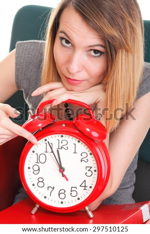 woman overworked businesswoman holding plenty of documents red folders and alarm clock isolated on white  - stock photo