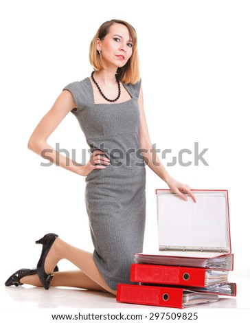 woman overworked businesswoman with plenty of documents red folders isolated on white  - stock photo