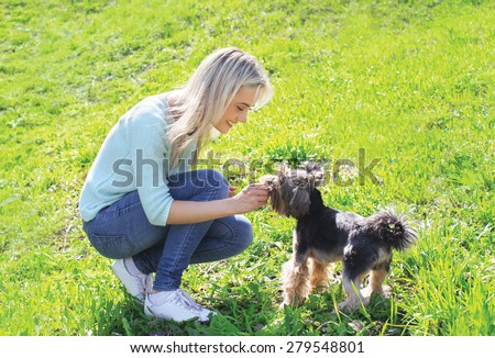 Woman owner with yorkshire terrier dog having fun on the grass