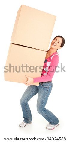 Woman Painfully Carrying Boxes - stock photo