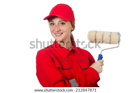 Woman painter in red coveralls isolated on the white - stock photo